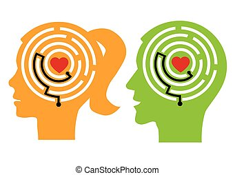 Love your self - Female and male stylized head silhouettes...