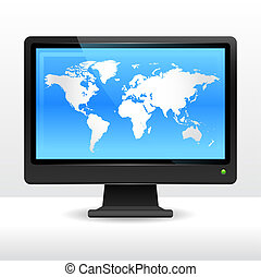 Computer monitor with world map