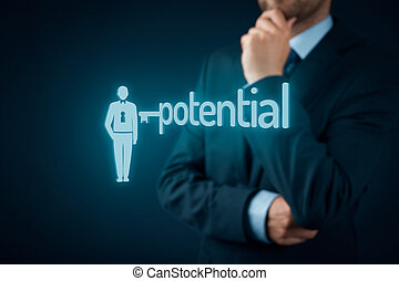 Unlock potential - motivational concept. Manager (HR...