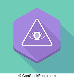 Long shadow hexagon icon with an all seeing eye -...