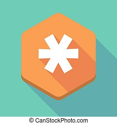 Long shadow hexagon icon with an asterisk - Illustration of...