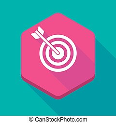 Long shadow hexagon icon with a dart board - Illustration of...