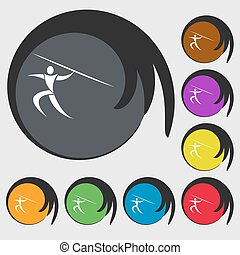 Summer sports, Javelin throw icon. Symbols on eight colored buttons. Vector