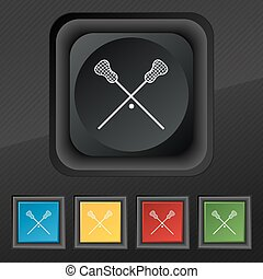 Lacrosse Sticks crossed icon symbol. Set of five colorful,...