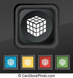 A three sided cube puzzle box in 3D icon symbol. Set of five colorful, stylish buttons on black texture for your design. Vector