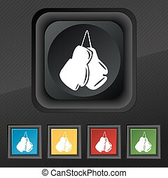 boxing gloves icon symbol. Set of five colorful, stylish buttons on black texture for your design. Vector