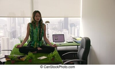 3 Business Woman Doing Yoga Meditation On Table In Office -...