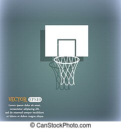 Basketball backboard icon. On the blue-green abstract background with shadow and space for your text. Vector