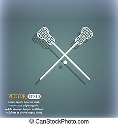 Lacrosse Sticks crossed icon On the blue-green abstract...
