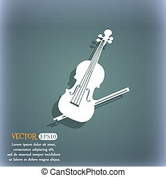 Violin icon. On the blue-green abstract background with shadow and space for your text. Vector
