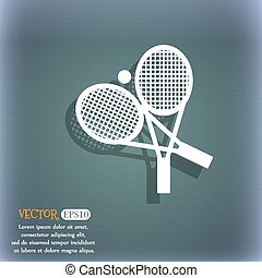 tennis icon. On the blue-green abstract background with shadow and space for your text. Vector