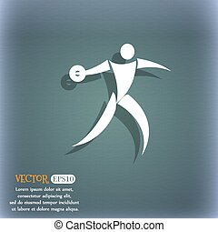 Discus thrower icon. On the blue-green abstract background with shadow and space for your text. Vector