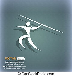 Summer sports, Javelin throw icon. On the blue-green abstract background with shadow and space for your text. Vector