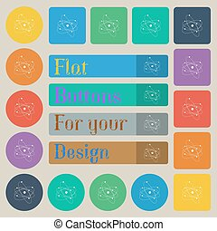 physics, atom, big bang icon sign. Set of twenty colored flat, round, square and rectangular buttons. Vector
