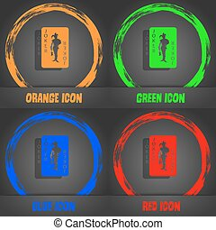 Single playing cards, Joker icon. Fashionable modern style. In the orange, green, blue, red design. Vector