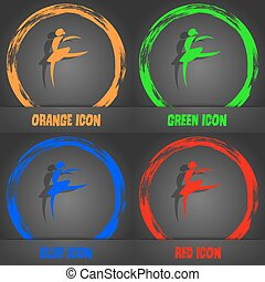 Dance girl ballet, ballerina icon. Fashionable modern style. In the orange, green, blue, red design. Vector