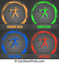 Discus thrower icon. Fashionable modern style. In the orange, green, blue, red design. Vector