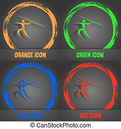 Summer sports, Javelin throw icon. Fashionable modern style. In the orange, green, blue, red design. Vector
