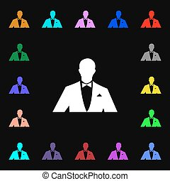 Silhouette  of man in business suit icon sign. Lots of colorful symbols for your design. Vector