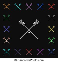 Lacrosse Sticks crossed icon sign. Lots of colorful symbols...
