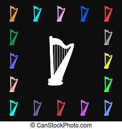 harp icon sign Lots of colorful symbols for your design...