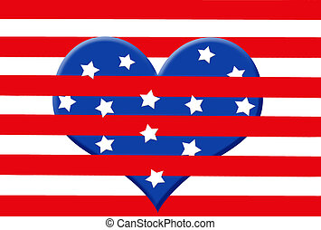 American Heart - Heart with stars and stripes.