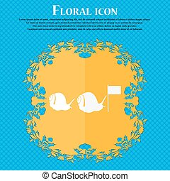 Fast snail icon Floral flat design on a blue abstract...