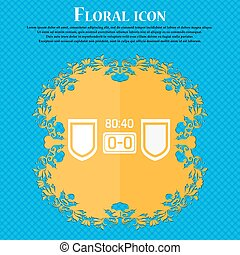 Scoreboard icon. Floral flat design on a blue abstract background with place for your text. Vector