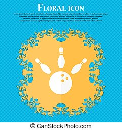 bowling icon. Floral flat design on a blue abstract background with place for your text. Vector