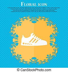 Sneakers icon. Floral flat design on a blue abstract background with place for your text. Vector