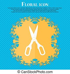 Scissors icon. Floral flat design on a blue abstract background with place for your text. Vector