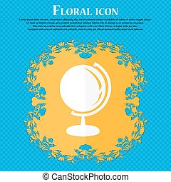 Globe icon. Floral flat design on a blue abstract background with place for your text. Vector