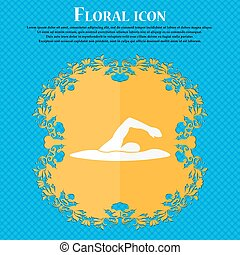 swimmer icon. Floral flat design on a blue abstract background with place for your text. Vector