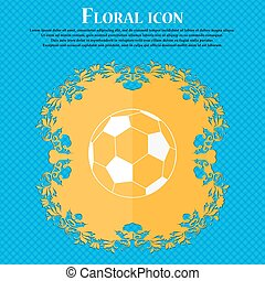 football icon. Floral flat design on a blue abstract background with place for your text. Vector