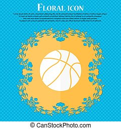 Basketball icon. Floral flat design on a blue abstract background with place for your text. Vector