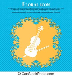 Violin icon. Floral flat design on a blue abstract background with place for your text. Vector