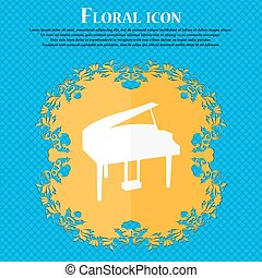 Grand piano icon. Floral flat design on a blue abstract background with place for your text. Vector