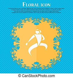 Karate kick icon Floral flat design on a blue abstract...