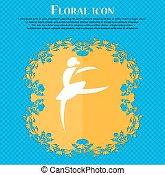 Dance girl ballet, ballerina icon. Floral flat design on a blue abstract background with place for your text. Vector