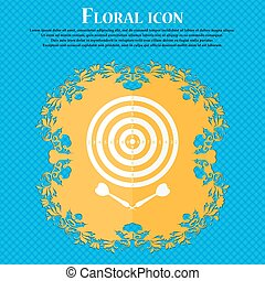 darts icon. Floral flat design on a blue abstract background...