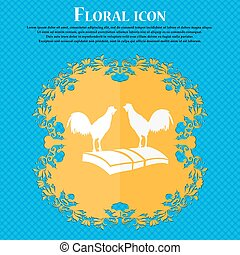 Cock-fights icon. Floral flat design on a blue abstract background with place for your text. Vector