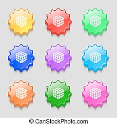 A three sided cube puzzle box in 3D icon sign. symbol on nine wavy colourful buttons. Vector