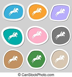 Horse race. Derby. Equestrian sport. Silhouette of racing horse symbols. Multicolored paper stickers. Vector