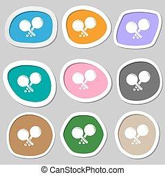 Tennis rocket symbols. Multicolored paper stickers. Vector