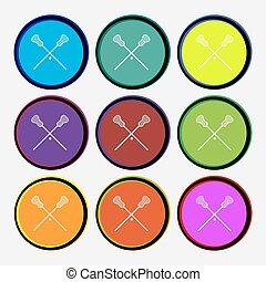 Lacrosse Sticks crossed icon sign. Nine multi colored round buttons. Vector