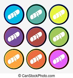 pencil case icon sign Nine multi colored round buttons...