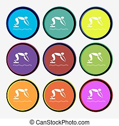 Summer sports, diving icon sign. Nine multi colored round buttons. Vector