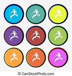 Karate kick icon sign. Nine multi colored round buttons....