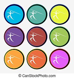 Summer sports, Javelin throw icon sign. Nine multi colored round buttons. Vector