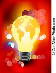 Bulb in the shape of a globe with blurred lights